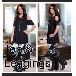 Sold out!- Black cold shoulder & legging combo